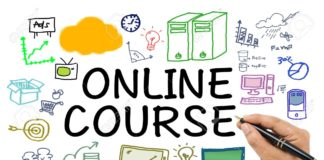 73111120 online course with drawing icon on white background